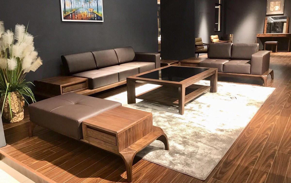 Bộ bàn ghế sofa gỗ kê phòng khách rộng cao cấp
