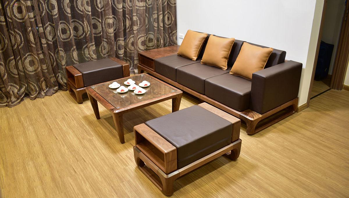 Sofa nguyên khối chung cư có nệm da sang trọng